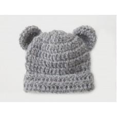 Alpaca bear hat newborn, Gray bear hat with ears, Bear boy girl hat
