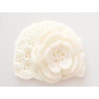 Baby girl newborn crochet hat, Girls crochet newborn hat, Cream baby hat