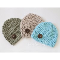 Blue cotton baby beanies boy, Newborn cotton beanie, Crochet boy hats