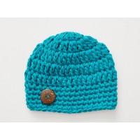 Teal crochet baby boy beanie, Cotton boy hat, Newborn hats cotton