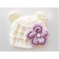 Teddy Bear baby hat, Cream bear ears hat, Newborn crochet bear hat