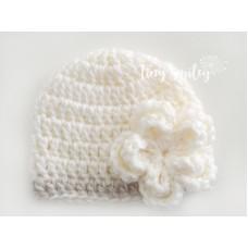 Cream winter baby girl hat, Crochet baby beanie winter