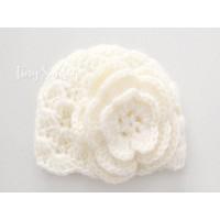 Baby girl newborn crochet hat, Girls crochet newborn hat, Cream baby hat girls