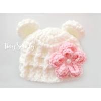 Wool crochet bear hat, Cream baby girl hat with flower, Baby winter hats