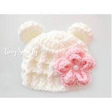Wool crochet bear hat, Cream baby girl hat with flower, Newborn bear hat, Winter baby hats