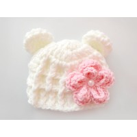 Wool crochet bear hat, Cream baby girl hat with flower, Baby winter hats