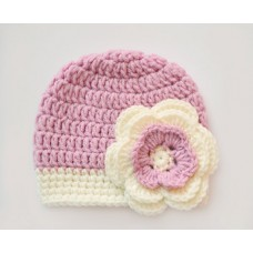 Girls crochet wool baby hat, Mauve baby girl hat, Newborn flower girl beanie