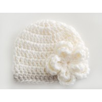 Cream winter baby girl hat, Crochet baby beanie winter