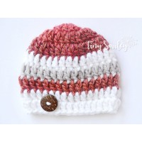 Wool crochet baby beanie, Winter crochet boy hat, Baby striped newborn hat