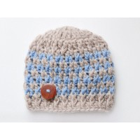 Winter brown boy hat, Wool baby  boy beanie, Newborn crochet outfit