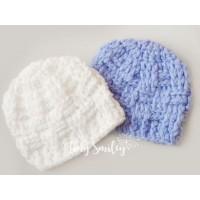 Twin baby boy beanies, Twin crochet hats blue white
