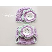 Set crochet girl outfit, Newborn crochet outfit girl, Hat and diaper cover set