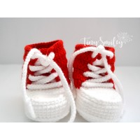 Red white rochet baby sneakers, Newborn crochet baby shoes
