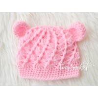 Crochet pink baby hat with ears, Bear girl crochet hat, Bear ears hat, Tinysmiley