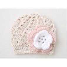 Wool baby girl hat, Baby girl crochet beanie beige, Winter baby girl hats