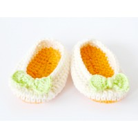 Crochet baby booties newborn, Baby boots orange, Girl ballerina booties