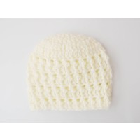 Crochet baby boy beanies, Cream newborn baby boy hat, Textured hats