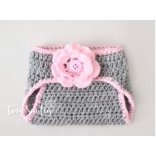 Gray crochet diaper cover, Newborn diaper cover, Baby girl diaper cover outfit