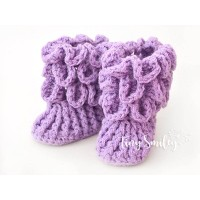 Lavender crocodile stitch baby boots, Crochet baby boots newborn