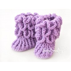 Crocodile stitch baby girl boots