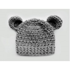 Wool gray baby crochet hat, Bear ears beanie winter