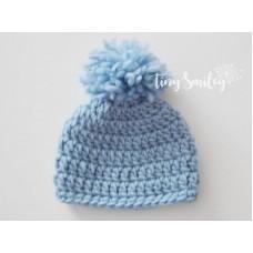 Dove blue wool pompom beanie, Winter baby boy hat with cute pompom