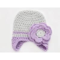 Winter  earflap gray hat, Earflap knit girl hat, Wool knit newborn hat