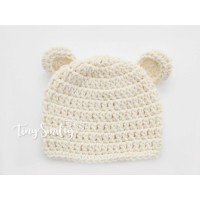 Bear hat, Ears bear ecru hat girl boy, Baby bear beanies crochet