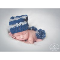 Pixie crochet elf hat, Baby girl boy striped elf hat, Long stocking baby hat