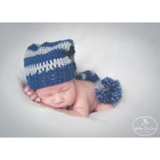 Pixie crochet elf hat, Baby girl boy striped elf hat, Long stocking baby hat