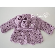 Crochet set baby girl outfit, Purple baby girl hat, Newborn shoes and cardigan