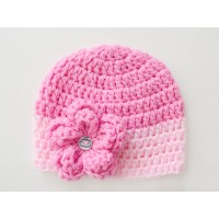 Pink baby girl beanie hat, Crochet pink girl hat, Crochet hats girl