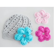 Crochet beanie for girl with flowers, Gray interchangeable flowers baby hat
