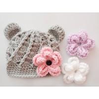 Baby bear crochet hats, Gray bear hat with Interchangeable flowers