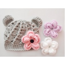 Baby bear crochet hats, Gray bear hat with Interchangeable flowers