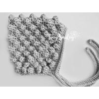 Gray bonnet, Crochet bubble baby girl hat