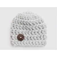 Chunky baby boy hat, Gray crochet wool baby hat, Tinysmiley