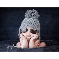 Wool earflap baby hat, Winter baby hats, Pompom newborn hat gray