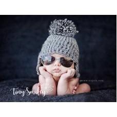 Wool earflap baby hat, Winter baby hats, Pompom newborn hat gray