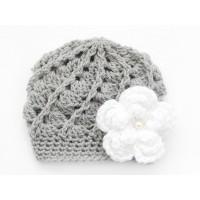 Newborn gray girl hat, Crochet girl newborn beanie, Baby girl hospital hat