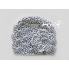 Gray crochet baby girl wool hat