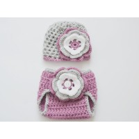 Newborn baby set,  hat and diaper cover outfit
