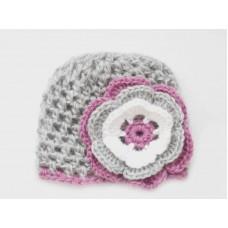 Crochet mohair baby girl hat, Gray hat newborn girl, Mohair girl hats