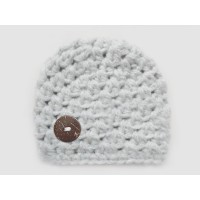Crochet winter baby boy hat, Hat for boy gray, Wool newborn beanie