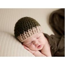 Dark green crochet newborn hat, Baby boy hat, Hospital baby boy hat outfit