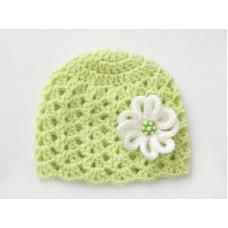 Pistachio green baby girl flower hat