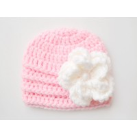Pink baby girl flower hat, Newborn crochet hat