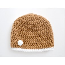 Brown crochet baby boy outfit, Newborn boy beanie, Crochet boy hospital hats