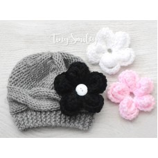 Knit baby girl hat with flowers, Removable flowers hat, Wool winter girls hats