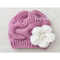 Newborn knit baby girl hat, Mauve baby girl knit hat, Baby wool hats for winter